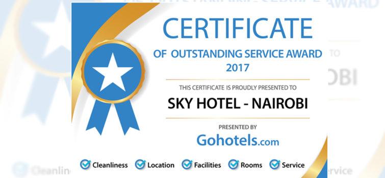 certificate of outstanding service award 2017 sky hotel nairobi